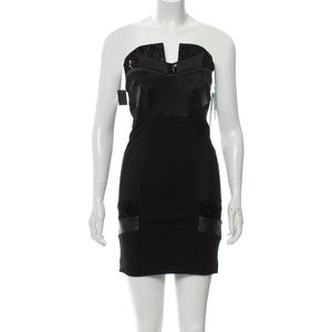 Alice + Olivia Leather-Trimmed Mini Dress